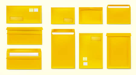 Yellow envelopes with stamps. Blank closed and open paper covers, vertical and horizontal letter packages mock up for mail, letters, sending documents and messages, Realistic 3d vector template set