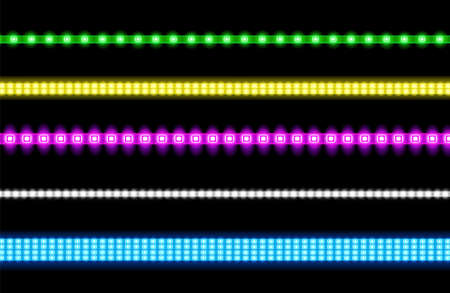 Led strips with neon glow effect isolated on transparent background. Vector realistic set of colored light stripes, glowing tape with pink, green, blue, yellow and white lamp and diode bulbes Illustration