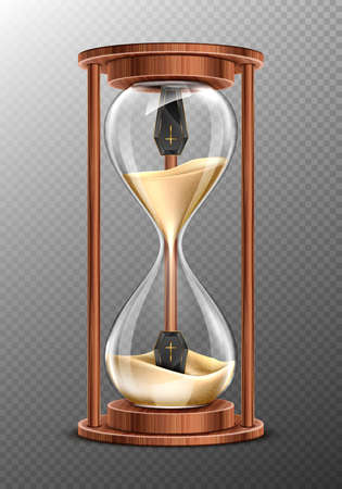 Life is short, RiP concept, hourglass with coffins inside and pouring sand. Glass clock in wooden frame, realistic 3d vector timer with flowing grains and caskets isolated on transparent background
