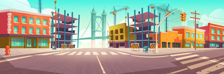 City street with construction site, building work and tower crane. Vector cartoon cityscape, urban landscape with houses, unfinished construction, road with crosswalk and overpass on background