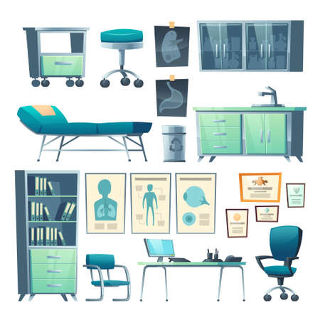 Clinic interior, doctor stuff, isolated hospital items couch, chair and washbasin, locker for medicine, cabinet with document folders, table, computer and medical banners, cartoon vector illustration