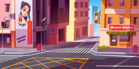 City street with houses, road with pedestrian crosswalk, traffic lights and store front with banner. Vector cartoon cityscape, urban landscape with residential buildings and shops 向量圖像
