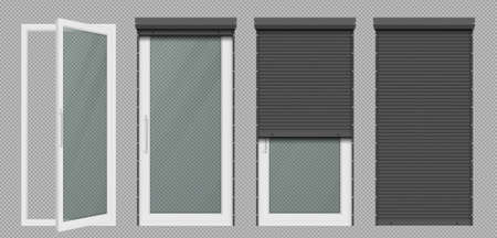 Glass door or tall window with rolling shutter isolated on transparent background. Vector realistic set of closed and open roller up for door or window, gray black metal blind for office store facade Illustration