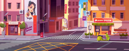 City street with houses, road with pedestrian crosswalk, traffic lights and scooter of deliver beside store. Vector cartoon cityscape, urban landscape with residential buildings and shops
