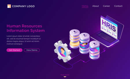 Hris isometric landing page. Human resources information system, IT and HR mixed technologies, computer screen with software for collection and store employees organization data 3d vector web banner
