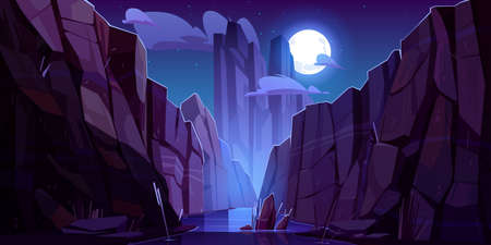 Mountain river in canyon at night. Vector cartoon landscape of nature park, water stream in gorge with stone cliffs and rocks. Grand canyon national park in Arizona 矢量图像