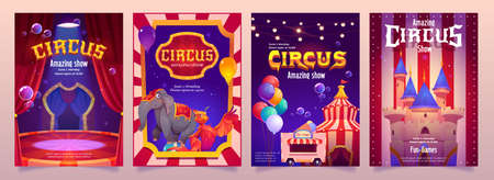 Carnival funfair flyers. Circus performance posters with elephant on ball, tent and food cart. Vector cartoon set of festival flyers with illustration of circus stage, balloons and magic castle Çizim