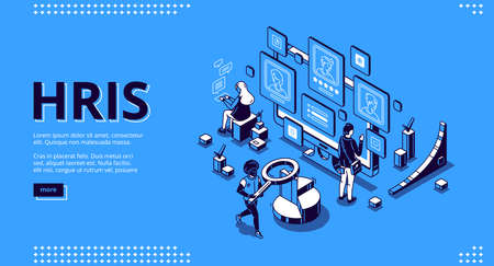 Hris isometric landing page. Human resources information system IT and HR technologies, people at multiple screens with software for employees organization and store data 3d vector line art web banner Stock Illustratie