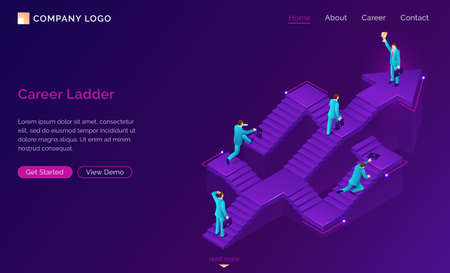 Career ladder isometric landing page. New opportunity, way to success. Businessman choose road stand at confused stairs, make decision, solution and choice for job and life path. 3d vector web banner