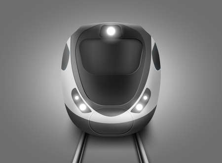 Modern subway train front view. Vector realistic illustration of front wagon of passenger speed train and rails. Underground electric railway transport for city or suburban commute