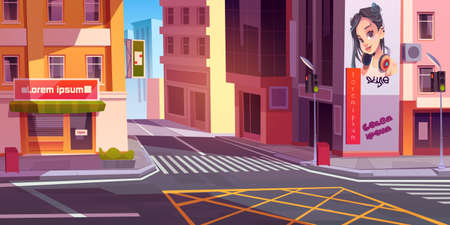 City street with houses, road with pedestrian crosswalk, traffic lights and store front with banner. Vector cartoon cityscape, urban landscape with residential buildings and shops Vettoriali