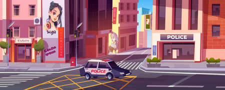City street with police station and houses. Vector cartoon cityscape with police department and car with flasher on road with pedestrian crosswalk and traffic lights