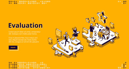 Evaluation banner. Customer review, feedback about quality, experience report. Vector landing page of rating service with isometric illustration of people, stars and chart
