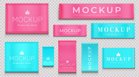 Fabric tags for textile isolated on transparent background. Vector realistic mockup of blue and pink cloth labels with stitches, cotton ribbon badge different shapes, woven fashion sticker