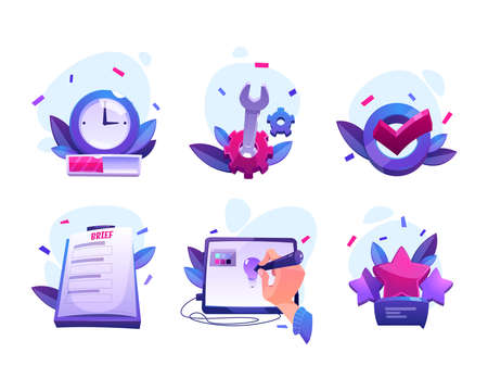 Work process of graphic designer from taking order to customer feedback and review. Vector cartoon icons of creative production with clock, brief, gear, digital tablet and check mark Stock Illustratie