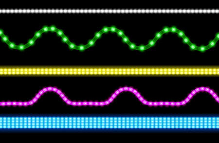 Led strips with neon light effect isolated on transparent background. Vector realistic set of colored light stripes and wavy glowing tape with pink, green, blue and white lamp and diode bulbes Illustration