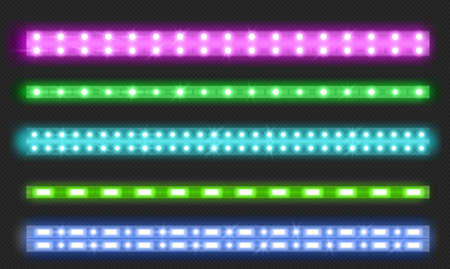 Double row led strips with neon glow effect isolated on transparent background. Vector realistic set of colored light stripes, glowing flexible tape with green, blue and pink lamp and diode bulbes