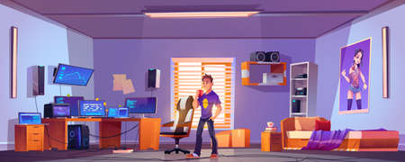 Teenager drinks coffee in bedroom with workspace with computer monitors on desk, chair and printer on shelf. Vector cartoon interior room of gamer, programmer or hacker Stock Illustratie