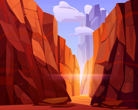 Desert road in canyon with red mountains. Vector cartoon landscape of nature park, ground road in gorge with stone cliffs and rocks. Grand canyon national park in Arizona Ilustracja