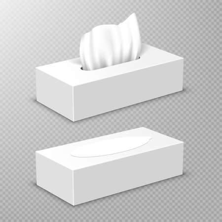Box with white paper napkins. Vector realistic mockup of blank open and closed cardboard package with facial tissues or handkerchiefs, angle view isolated on transparent background