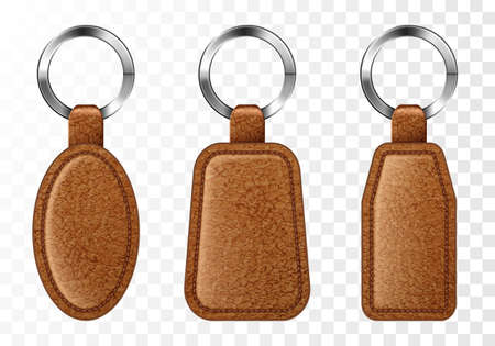 Leather keychains, chinese brown keyring holders with metal rings. Accessories or souvenir trinkets for home, car or office isolated on transparent background. Realistic 3d vector illustration, icons