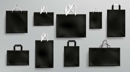 Paper shopping bags mockup, black packages with rope and lace handles, blank rectangular ecological gift packs, isolated mock up for branding and corporate identity design, Realistic 3d vector set Vettoriali