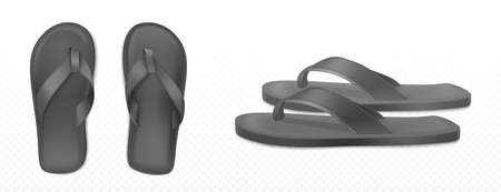 Black summer slippers for beach or pool top side view isolated transparent background. Vector realistic blank flip flops mockup, plastic sandals with thong, rubber shoes for household or sea vacation Vectores