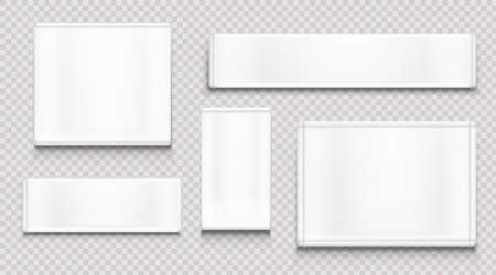 White fabric tags different shapes isolated on transparent background. Vector realistic mockup of blank cloth labels with stitches, cotton badge for textile, woven fashion sticker