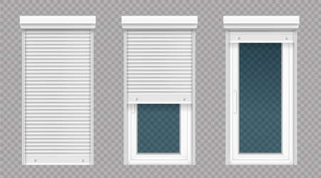 Glass door or tall window with rolling shutter isolated on transparent background. Vector realistic set of closed and open roller up for door or window, white metal blind for office or store facade