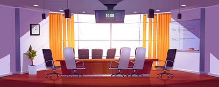 Conference room for business meetings, presentation for team, discussion or training. Vector cartoon interior of empty boardroom in company office with table, chairs, screen and board