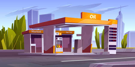 Gas station with oil pump, market and prices display. Vector cartoon cityscape with empty fuel filling station for cars on town road. Modern service for refill petrol, diesel or gas Illustration