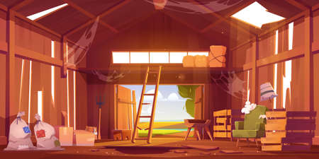 Abandoned barn interior with broken furniture, spiderweb and destroyed floor. Neglected farm house, ranch with haystacks, sacks, fork and open gate, old storehouse building Cartoon vector illustration 矢量图片