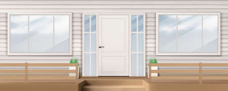 House facade with white closed door, windows, siding wall and steps. Vector realistic background of building front, modern wooden porch. Entrance for suburban apartment outside