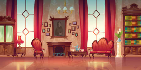 Living room interior in classic victorian style with sofa, armchair, fireplace and bookcase. Vector cartoon illustration of old lounge room with vintage wooden furniture and tea on table Иллюстрация