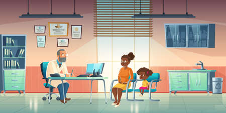 Pediatrician and woman with girl sit in medical office. Vector cartoon illustration of cabinet interior in hospital or clinic with male doctor and child patient with mother Stock Illustratie