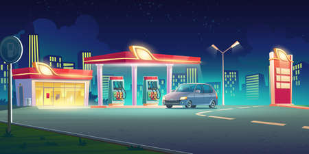 Gas station with oil pump, market and prices display at night. Vector cartoon cityscape with car on fuel filling station on town road. Modern service for refill petrol, diesel or gas