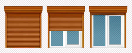 Plastic window with wooden rolling shutter isolated on transparent background. Vector realistic set of closed and open roller up for glass window, brown blind for office or shopfront