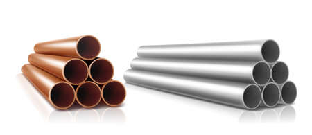 Pipes stack, straight steel or copper, metal or pvc plumbing cylinders. Industrial pieces of pipelines for conduit, factory or construction works isolated on white background. realistic 3d vector set