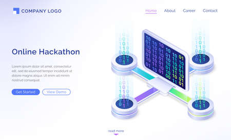 Online hackathon isometric landing page. Computer desktop with binary code on screen connected to remote platforms. Pc software development, coding, work with digital data concept 3d vector web banner