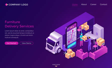Furniture delivery services banner. 24 7 online mobile order shipping furniture or relocation. Vector isometric truck, sofa, boxes, porter and smartphone with application for tracking with map
