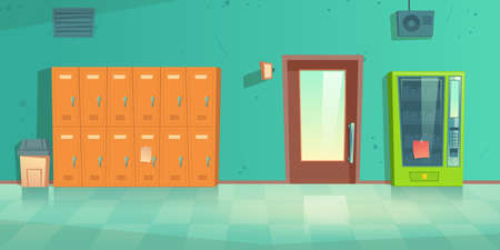 School hallway, empty corridor interior with lockers, vending machine, closed door to classroom and litter bin on tiled floor. College campus hall or university lobby, Cartoon vector illustration