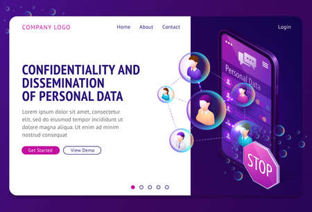 Personal data protection isometric landing page. Internet social networks media cyber privacy, protect confidential information. Smartphone screen with connected human profiles, 3d vector web banner