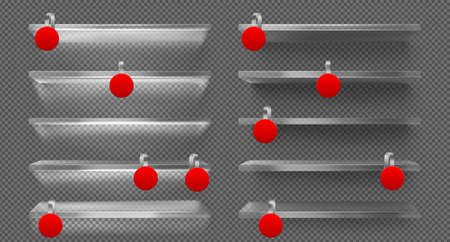 Glass shelves with led light and red wobblers. Vector realistic mockup of empty shelves with blank round plastic price tags for supermarket, shop or exhibition isolated on transparent background