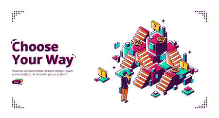 Choose your way banner. Career development concept. Vector landing page of planning life direction with isometric illustration of businessman making decision in front of confused stairs