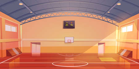 Basketball court interior, sports arena or hall for team games with hoop, wooden floor, scoreboard and empty fan sector seats. Indoor stadium illuminated with sunlight, cartoon vector illustration Vektorové ilustrace