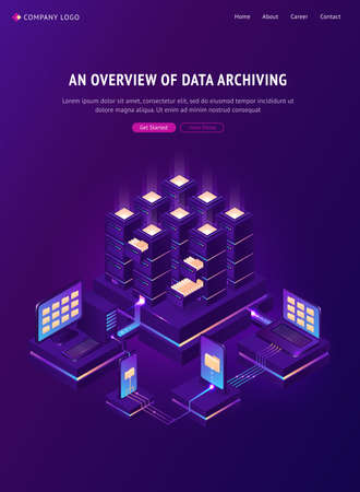 Archive with folders in cabinets and computers. Overview of data archiving banner. Vector isometric illustration of database, digital storage, sharing documents and protection privacy information