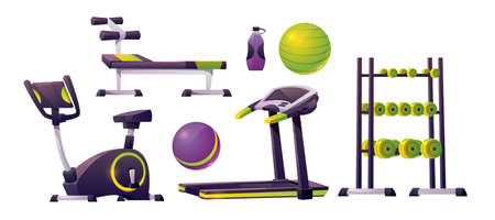 Gym equipment for workout, fitness and sport. Vector cartoon set for strength training, running track, exercise bike, bench, fitness balls, dumbbells and bottle for water or sport nutrition