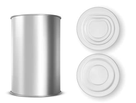 Metal tin can for food front, top and bottom view. Vector realistic mockup of blank aluminum container, round steel pack for soup, milk, beans or meat isolated on white background