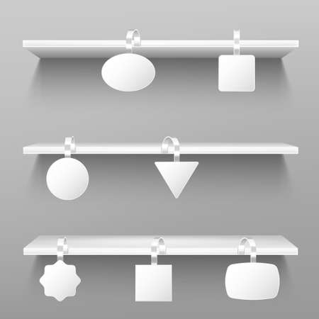 Wobblers on wooden shelves. Blank price tags hang on rack on grey wall background. Paper stickers on plastic or metal strips mock up, clear pricing labels of various shapes, Realistic 3d vector mockup