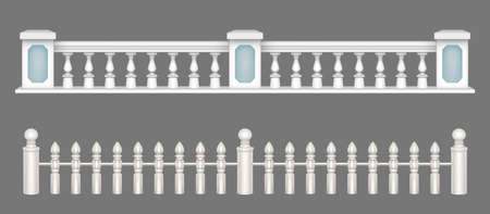 White marble balustrade, handrail for balcony, porch or garden in classic roman style. Vector realistic set of stone railing sections, banister with pillars and decorative columns Ilustracje wektorowe